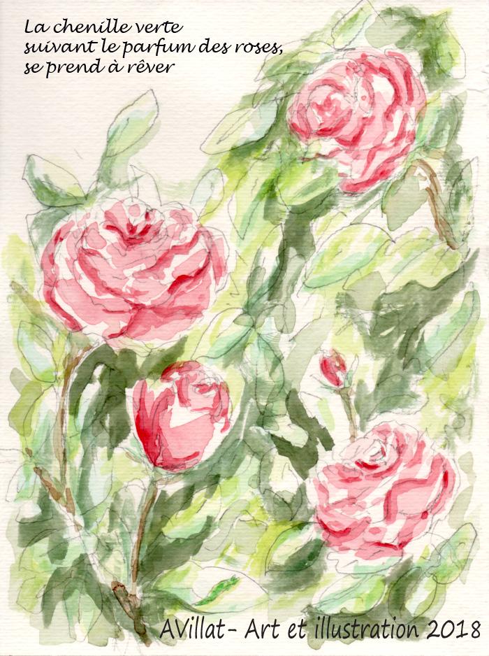 La chenille verte, suivant le parfum des roses, se prend à rêver. AVillat