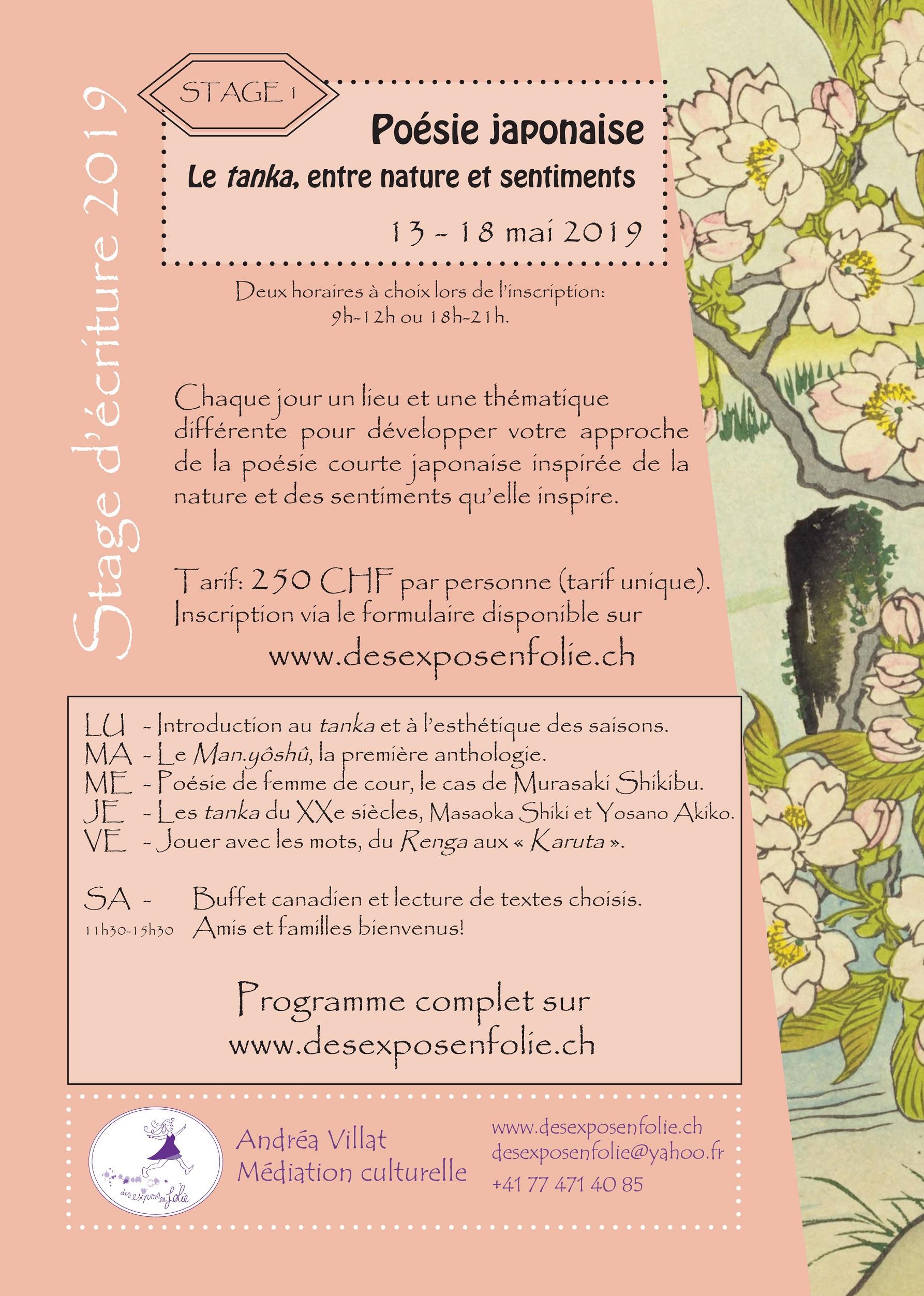 Stage d'écriture 1 – Le Tanka, entre nature et sentiments – 13 au 18 mai 2019