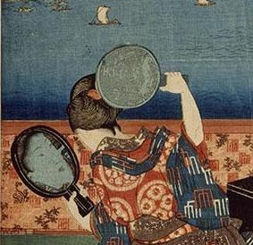 La construction de l'œuvre raconte au spectateur, dans un crescendo de motifs de l'intime à l'universel, de l'une dans l'autre, une femme en contemplation de sa propre beauté et une escadre de voiliers dans le foisonnement de motifs du Japon traditionnel. Composition en groupe avec les Mots du Clic, 14 avril 2019, Fondation Baur.